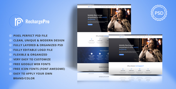 RechargePro - Online Mobile Recharge PSD Template