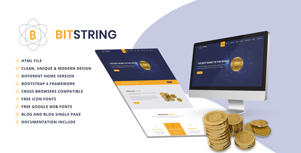 BIT STRING - Bitcoin Alternative OnePage HTML5 Template