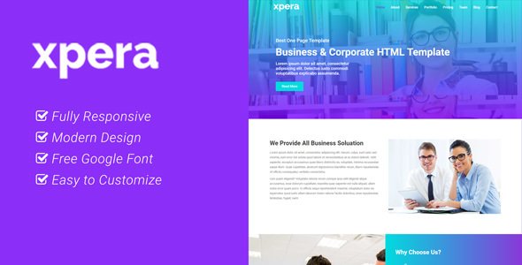 Xpera - Business and Corporate One Page HTML Template