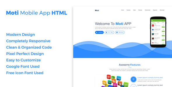 Moti - App Landing Page HTML5 Template