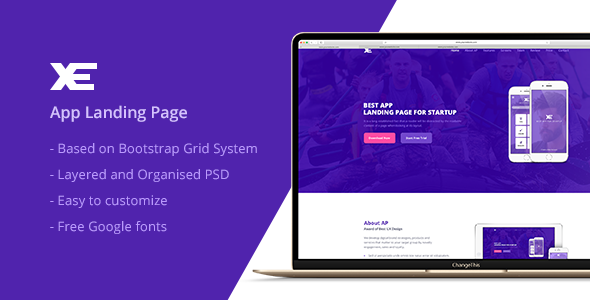 XE -  App Landing Page PSD Template