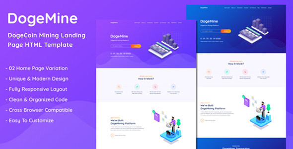 Dogemine - DogeCoin Mining Website HTML Template