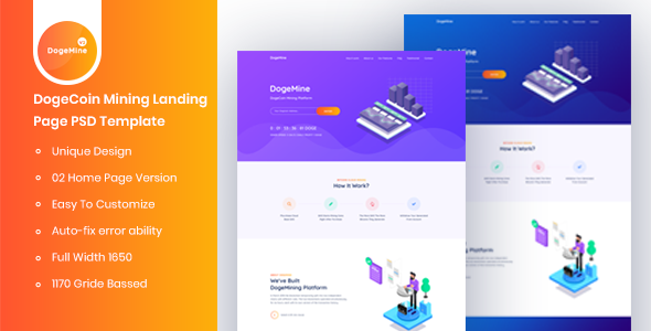 Dogemine - DogeCoin Mining Landing Page PSD Template