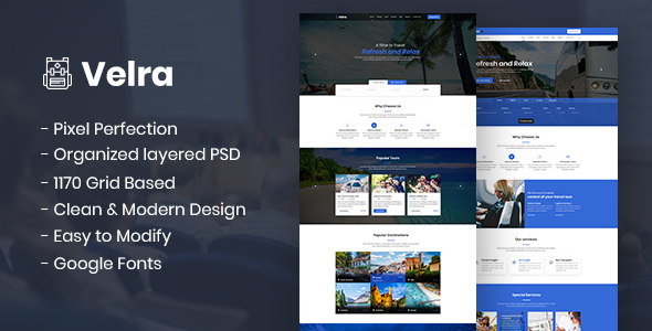 Velra - Travel Transport Business Template