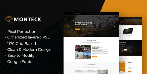 Monteck - Sports Club PSD Template