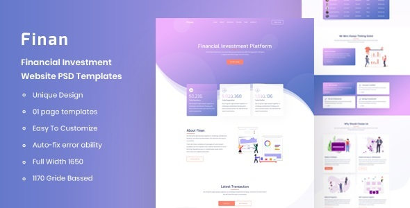 Finan - Financial Investment Website PSD Template