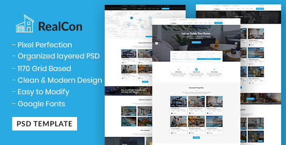 RealCon - Real Estate Property Business PSD Template