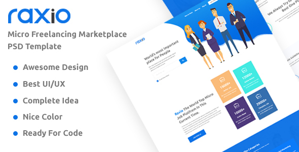 Rexio - Freelancing Marketplace Technology Business PSD Template
