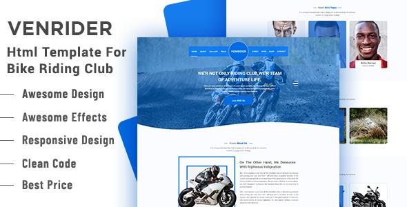 VenRider - Bike Rider Club HTML Template