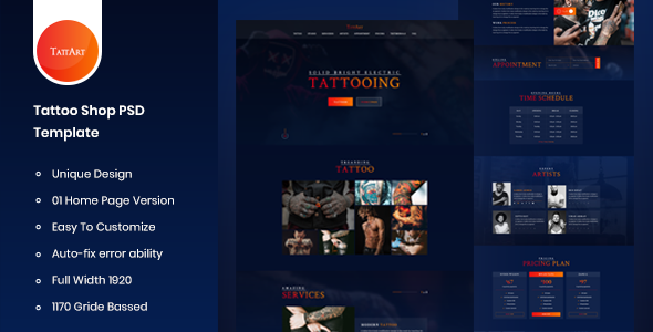 Tattart – Tattoo Shop Website PSD Template
