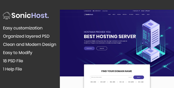 SonicHost - Hosting Business Website PSD Template