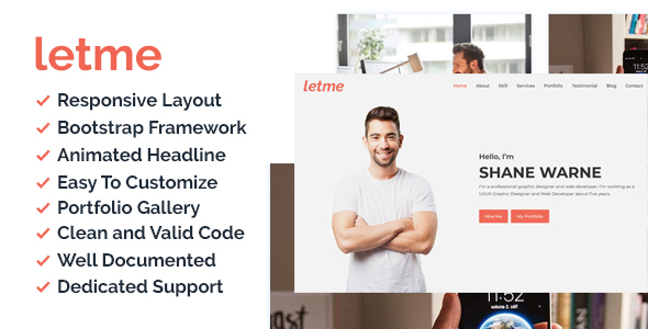 Letme - One Page Personal Portfolio HTML5 Template