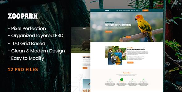 ZooPark - Zoo & Safari Park Website PSD Template