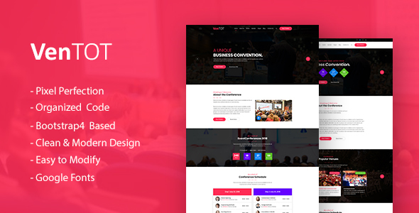 VenToT - Conference Ticket, Seminar & Event HTML Template