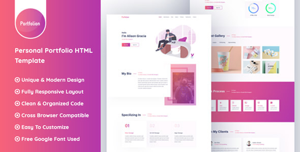 Portfolion - Personal Portfolio Website HTML Template @ 14 USD | THESOFTKING