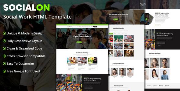 Socialon - Social Work Activity HTML Template