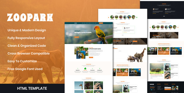 ZooPark - Zoo & Safari Park Website HTML Template