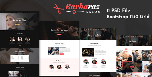 BarBaRaz - Hair Saloon & Beauty Parlour PSD Template