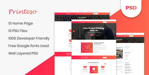 Printeso - Printing Agency PSD Template