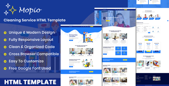 Mopio - On Demand Cleaning Service HTML Template