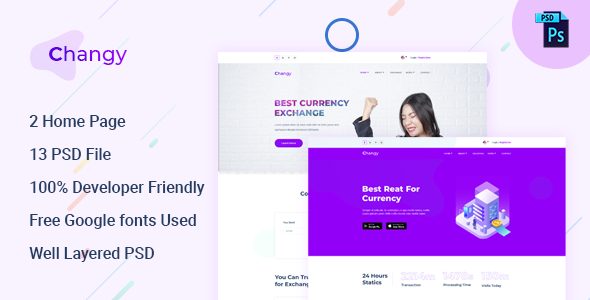 Changy - Dollar Buy Sell Website PSD Template