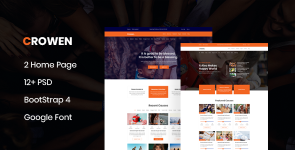 Crowen - Charity Crowdfunding & Fundraising PSD Template
