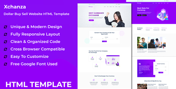 Xchanza - Dollar Buy Sell Website HTML Template