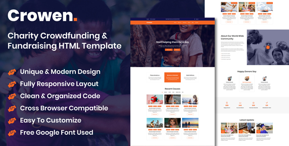 Crowen - Charity Crowdfunding & Fundraising HTML Template