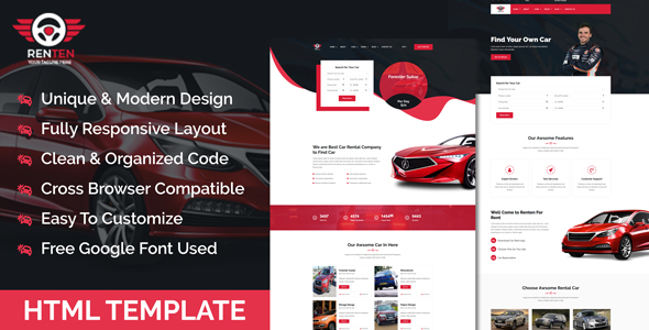 Renten - Car Rental Service HTML Template