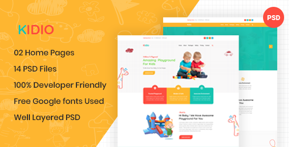 Kidio - Indoor PlayGround Business PSD Template
