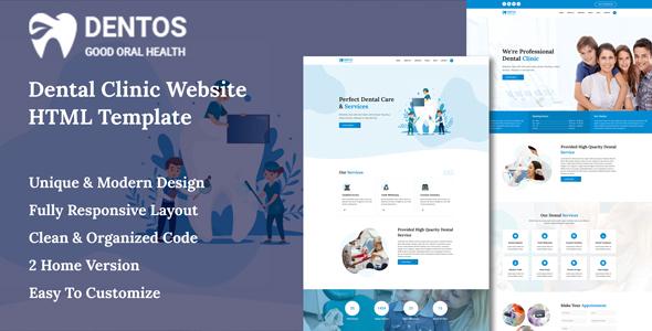 Dentos - Dental Clinic Website HTML Template