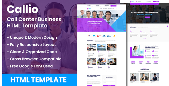 Callio - Call Center Business HTML Template