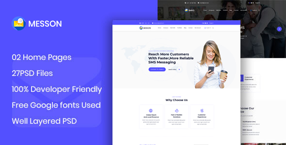 Messon - BulkSMS Reseller Business PSD Template