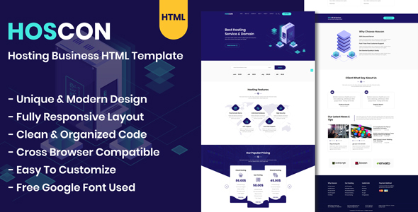 Hoscon - Hosting Business HTML Template