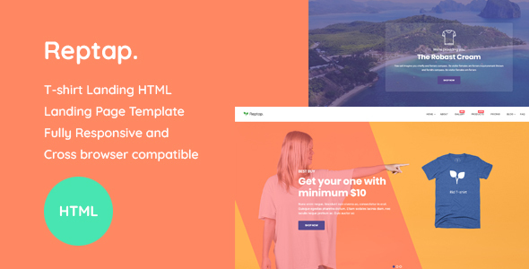 Reptap - T-shirt Landing Page HTML Template