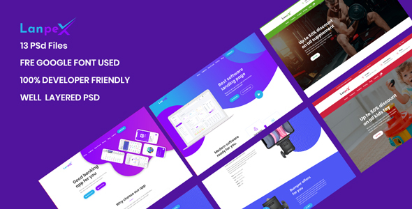 Lanpex - Multipurpose Product Landing Page PSD Template