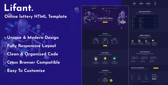 Lifant - Lottery HTML Template