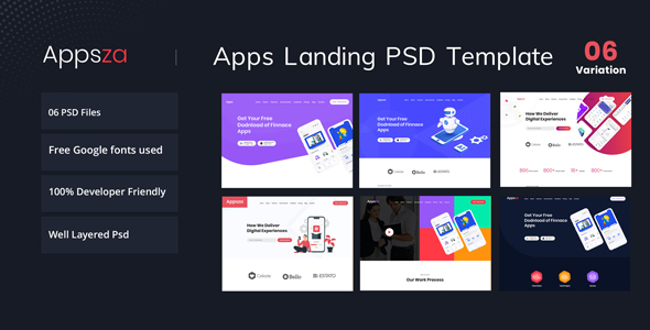 Appsza - Multipurpose App Landing Page PSD Template