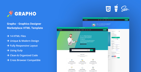 Grapho - Graphics Designer Marketplace HTML Template