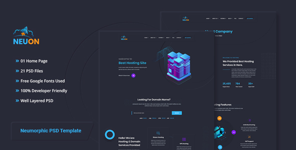 Neuon - Neumorphic Hosting PSD Template